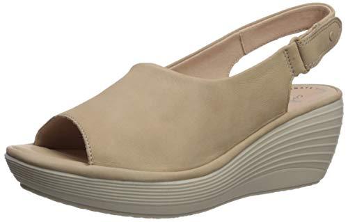 Clarks Women's Reedly Shaina Wedge Sandal, Sand Nubuck, 110 W US