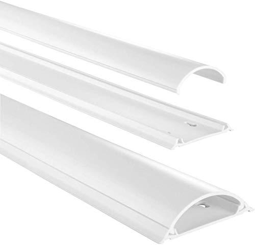 Hama Chemin de câbles (bande en PVC/Aluminium pour montage mural TV ou au sol, cache-câble demi-rond, 100 x 7 x 2,1 cm, entrée de câble jusqu'à 8 câbles) Blanc