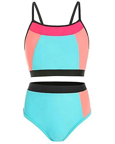 AS ROSE RICH Girls Bathing Suits 7-16 - 2 Piece Swimsuits for Toddler Teen Girls - Summer Beach Sports Swimsuits, XL/16, A Blue