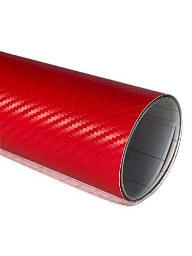 高品質ハイグレード 3D リアル カーボンシート 152cm×30cm シールステッカー 赤 レッド [TARO WORKS]