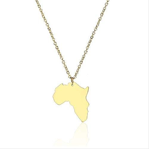 Zaaqio Collar Oro África Mapa Colgante Continente Collar Acero Inoxidable Etiopía Colgante Africano Mapa Redondo Collares joyería para Mujeres
