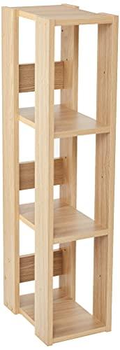 Marca Amazon - Movian OWR-200 - Estante abierto de madera con 3 compartimentos y armario, 3 estantes de madera, color marrón (roble claro), 20 cm