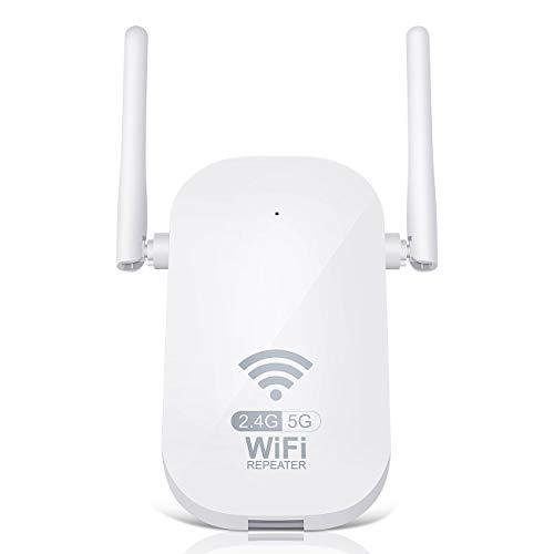 Amplificador Señal WiFi Repetidor WiFi,1200Mbps 2.4 GHz y 5GHz WiFi Extensor 2000 Pulgadas con Puerto Ethernet e Interfaz de Alimentación,Repetidor Inalámbrico con Botón WPS, Fácil de Configurar