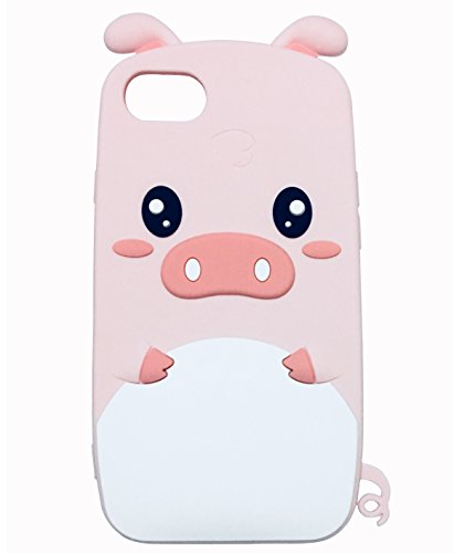 TopFunny iPhone 8 Case, iPhone 7 Silicone Case 3D Cute Cartoon Pink Pig Soft Silicone Rubber Bumper Protective Gel Cover Shockproof Case for Apple iPhone 8/7 4.7' 2017 Cute Pig