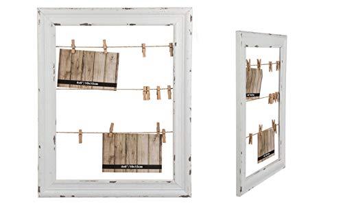 EuroDiscount Bilderrahmen Fotorahmen Rahmen Vintage Holzrahmen mit DREI Schnüren und 12 Wäscheklammern