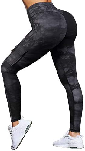 MOOSLOVER High Waisted Workout Leggings with Pockets for Women Ruched Butt Lifting Cargo Yoga product image