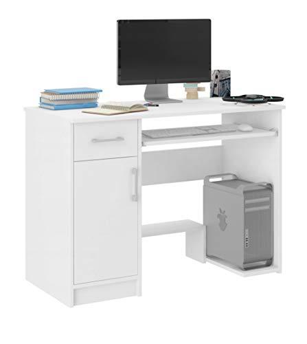 FRAMIRE N-10 Schreibtisch weiß, Computertisch mit 1 Schubladen, Schreibtisch für Schlafzimmer, Wohnzimmer, Studio, 90 x50 x 73 cm