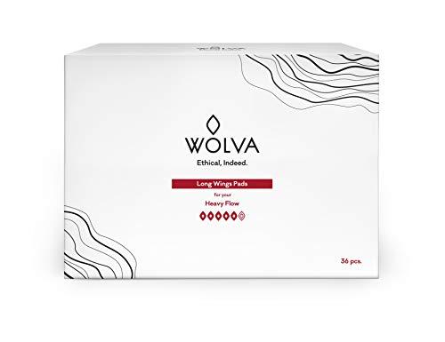 Compresas super Wolva, ecológicas con alas, de algodón orgánico, biodegradables y sin CO2, 36 uds