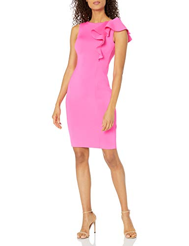 Eliza J Women's Sleeveless Scuba Sheath Dress with Ruffle Detail (Regular and Plus), Fuchsia, 8