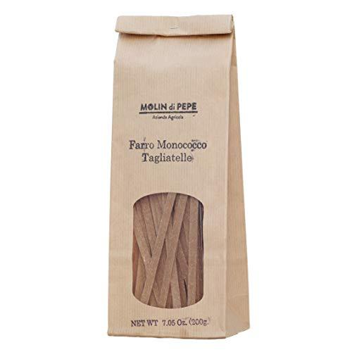 Molin di Pepe - Tagliatelle - Vollkorn-Einkorn-Dinkelmehlnudeln | Nahrhaft, ballaststoffreich, verdaulich | Getreide mit intensivem Geschmack l 200g Packung