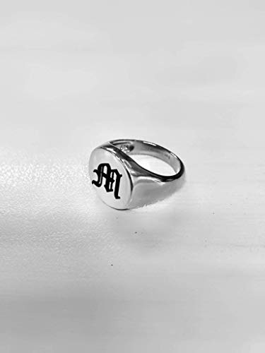 Silver Pinky Signet Ring, Old English Engraving, Black Initial, Handmade Personalized Jewellry