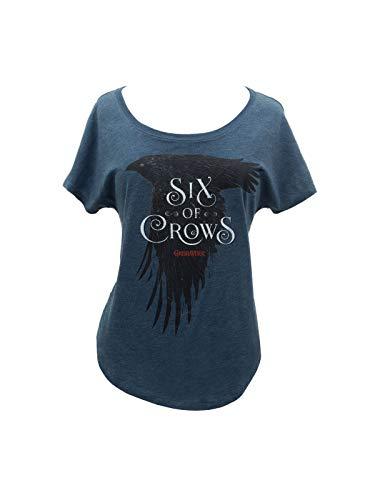 Camiseta de manga morcego feminina com tema literário de livro com estampa Out of Print, Six of Crows, 3X-Large