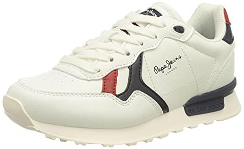 Pepe Jeans Britt College Boys, Scarpe da Ginnastica, 800 Bianco, 35 EU