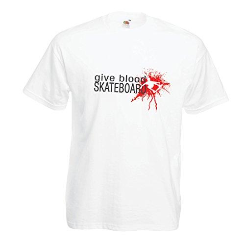 lepni.me Camisetas Hombre Give Blood Skateboard! - Citas Divertidas de Skateboard, Patinador Profesional (Medium Blanco Multicolor)