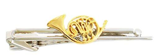 Unbekannt Konzerthorn Krawattenklammer Krawattennadel Musikinstrumente Bicolor glänzend ca. 7 cm lang + dunkler Geschenkbox
