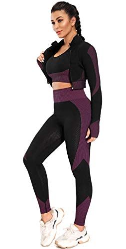 SIMYJOY Conjunto de ropa deportiva para mujer, conjunto de 3 piezas, traje de entrenamiento, entrenamiento, gimnasio, yoga, deportes, brasier, abrigo, leggings