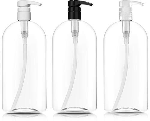 Empty Shampoo Bottles with Pumps, 32oz/1Liter/Large, BPA-FREE, Lightweight(Medium Density PETE1 Plastic)