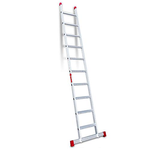 Faraone - Escalera de Apoyo EN 1110-10 peldaños - 300x42x8cm - Escalera de Aluminio - Peldaños Antideslizantes - Escalera ligera - Peldaño Ancho - Escalera 1 Tramo