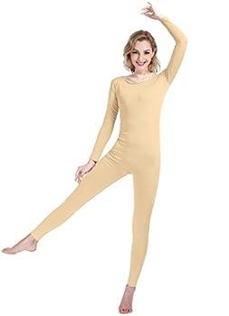 SHINNINGSTAR Girls Womens Well-fit Spandex Bodysuit Long Sleeve Scoop Neckline Footless Unitard  XXXL nude
