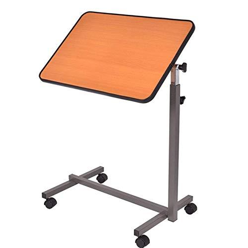 Mesas de cama ajustables, 360 °;Mesa de noche móvil giratoria portátil con cama inclinable para bandeja de comida, escritorio para computadora portátil con ruedas giratorias, súper resistente (Color
