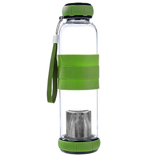 Hi Life Ph Glass high Ph Filtered Water Bottle- Alkaline Antioxidant Water with Silicone Sleeve Grip (550ml, Increases pH up to 9+) (Green)