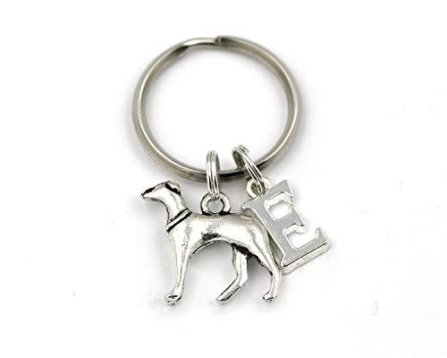 Llavero personalizable con diseño de caballero de plata y galgo, con cualquier inicial, en una bolsa de regalo de estilo terciopelo