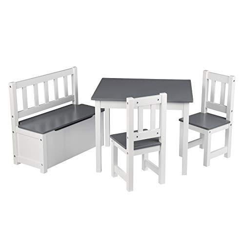 WOLTU SG014+SPK001 4tlg. Kindersitzgruppe Kindertisch mit 2 x Stühle und 1 x Spielzeugkiste, Tischgruppe für Kinder Vorschüler Kindermöbel,Weiß+Grau