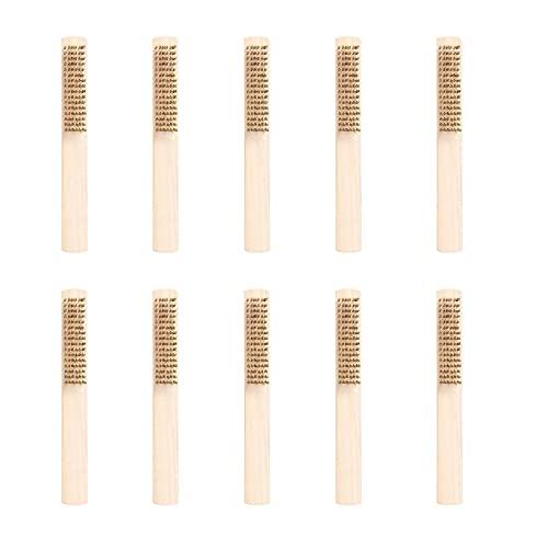 10 piezas Juego De Cepillos De Alambre,Cepillo de latón con mango de madera,Mango De Madera Cepillo de Alambre Manual,Para Limpieza y Eliminación De Óxido En Diferentes Industrias