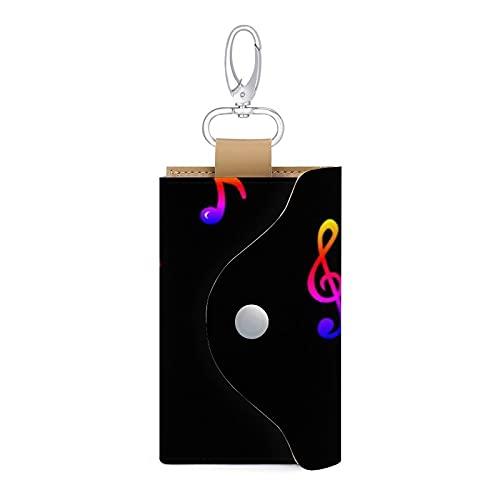 Estuche para llaves de piel con diseño de tréboles, para notas musicales, color negro