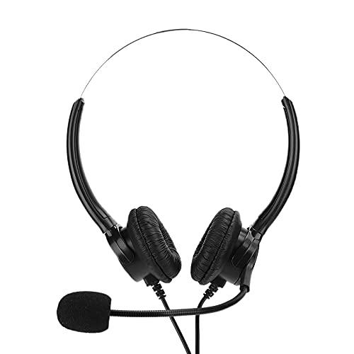 Teléfono Auriculares Servicio al Cliente Operador Auricular Binaural Reducción de Ruido Cristal Humanizado Cómodo Práctico Negocio Telemarketing Accesorio Auriculares Negro