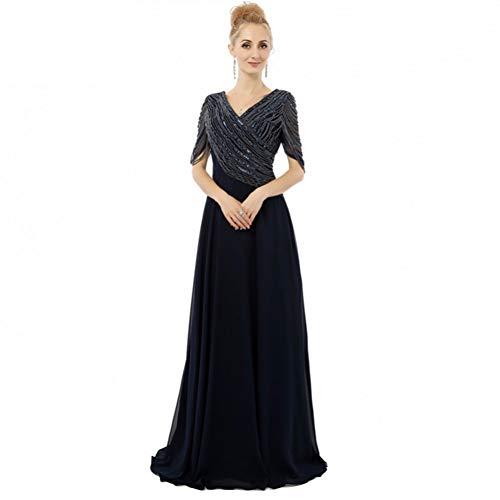 BINGQZ Damen/Elegant Kleid/Cocktailkleider V-Ausschnitt Halbarm Perlen Chiffon Formale Elegante Frauen Abendkleider Real Photo Mutter der Braut Kleider