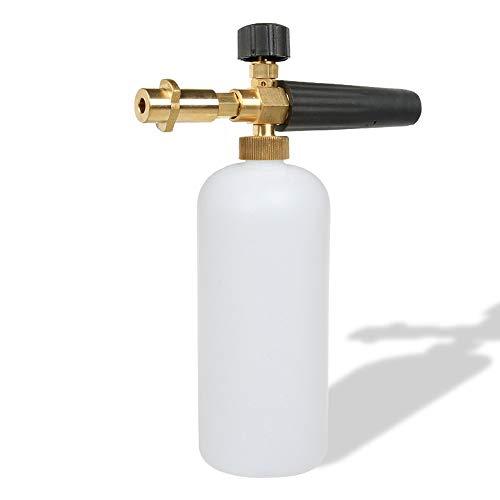 Espuma de nieve para lavado de coche con boquilla de espuma ajustable, dispensador de jabón de 1 l y adaptador de rosca macho para máquina de lavado de alta presión de Karcher serie K2,K3,K4,K5,K6,K7