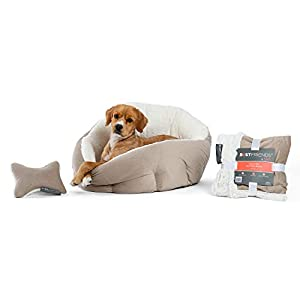 Best Friends by Sheri Bundle Set – OrthoComfort Deep Dish Cuddler Cat and Dog Bed, Throw Blanket and Plush Toy Bone, for Pets up to 35 lbs (Jumbo, Wheat Ilan)