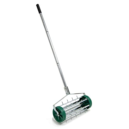 BMC Lawn Aerator Manual Grass Spike Roller 420mm with Long Handle