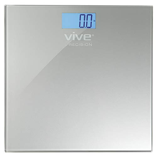 Digital Bathroom Scale by Vive Precision - Weight Scale Measuring Device - Electronic Body Scale, Easy to Read, Backlit Display - Accurate to .2 LBs (Silver)