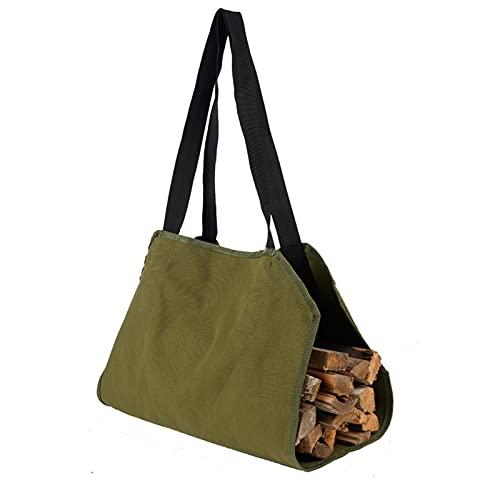 oftenrain Portaleña de lona encerada – Bolsa portadora de leña para leña, bolsa de almacenamiento de maricones, bolsa de madera...
