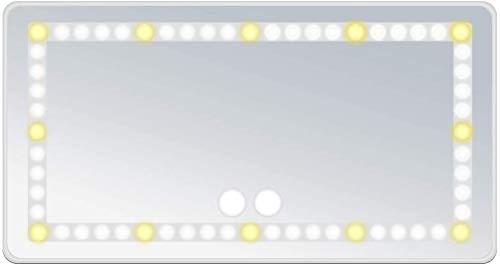 Espejo de Visera de Coche, Espejo de Tocador de Coche con 60 Luces LED y 3 Modos de Iluminación, Espejos Interiores de Coche Extraíbles y Recargables (Blanco)