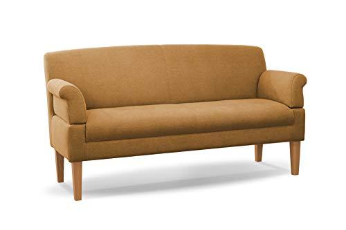 CAVADORE 3-Sitzer Küchensofa Malm, Sitzbank für Küche oder Esszimmer inkl. Armteilverstellung, Leichte Fleckenentfernung dank Soft Clean, 182 x 97 x 78, Flachgewebe: gelb