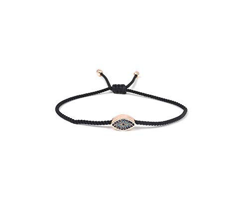 Remi Bijou Armband Armkette mit rundem blauem Auge Türkisches 'Nazar '- verstellbare Länge, ColorName:Schwarz