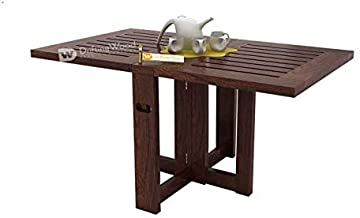 DriftingWood Sheesham Wood Astin Folding Center Coffee Table for Living Room | Dining Table | Walnut Finish