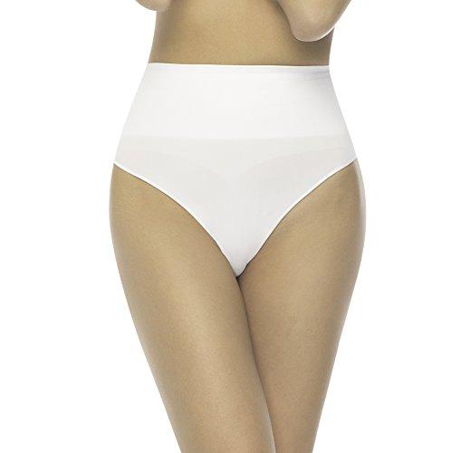 Formeasy Damen Taillenslip Nahtlos mit hohem Bund – Macht eine unglaublich schöne Form – Bequeme leicht Formende Unterwäsche Unterhose Bauchweg Hüftslip Seamless Shape Slip Panties (XL-XXL, Weiss)