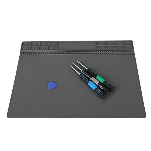 Lötmatte, 350MM * 250MM Magnetisches Silikon-Wärmeisolationspad 500 ℃ Hitzebeständige Wartungsmatte für die Elektronik zur Reparatur von Laptop-Uhren(Grau)