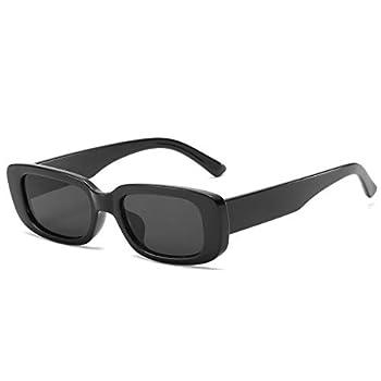 Dollger Rectangle Sunglasses for Women Trendy 90s Retro Sunglasses Square Frame Black sunglasses