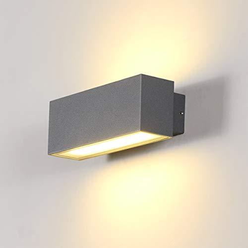 Dr.lazy Apliques de Pared Exterior LED 12W Lámpara de Pared Impermeable IP65 Luz de Aluminio Iluminación para Balcón, Jardín, Porche, Camino, Patio (Gris/Blanco cálido)