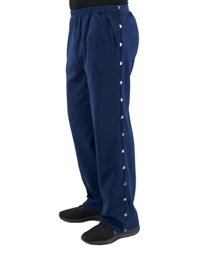 Post Surgery Tearaway Pants - Men's - Women's - Unisex Sizing (Navy Blue, Large)