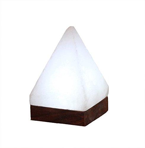 Himalaya Sel Dreams – Lumineux USB Cristal Pyramide White Line avec Socle en Bois, avec USB LED électronique, pour Ordinateur et Ordinateur Portable