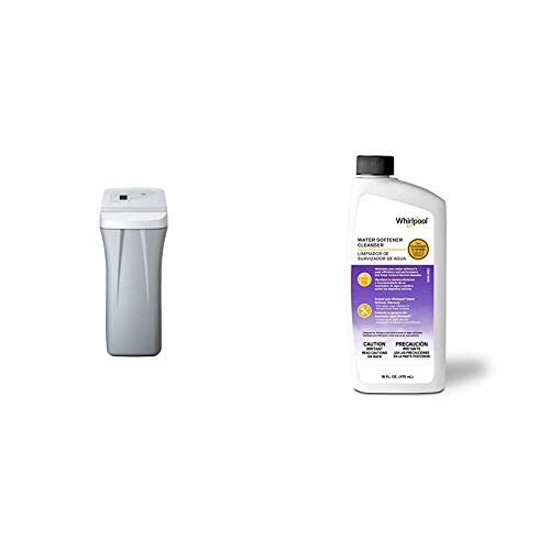 Whirlpool WHES30E 30,000 Grain Softener | Salt & Water Saving Technology | NSF Certified | Automatic Whole House Soft Water Regeneration, 0.75 inches, Off-White & Water Softener Cleanser 16 Ounces