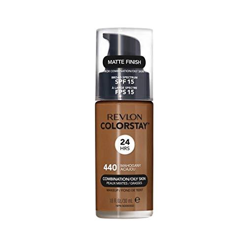 Revlon ColorStay Liquid Foundation Makeup for Combination/Oily Skin SPF 15, Longwear Medium-Full Coverage with Matte Finish, Mahogany (440), 1.0 oz