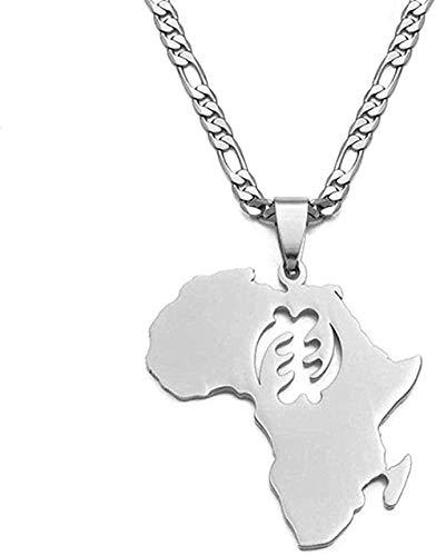 Aluyouqi Co.,ltd Collar Collar Mapa Africano Collares Pendientes Mujeres Hombres Color Acero Inoxidable Joyería étnica NA