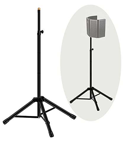"""Microphone Isolation Shield Tripod Stand, Tenlamp Heavy Duty Mic Stand with 3/8"""" to 5/8"""" Adapter, Adjustable 69"""" Height Microphone stand for Supporting Studio Recording Microphone Shield"""